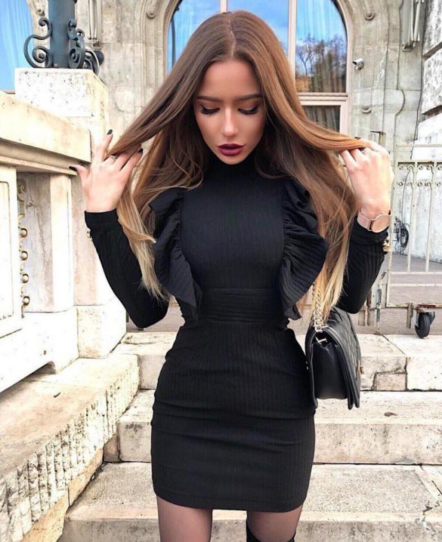 Elegant Black Dress With Ruffles