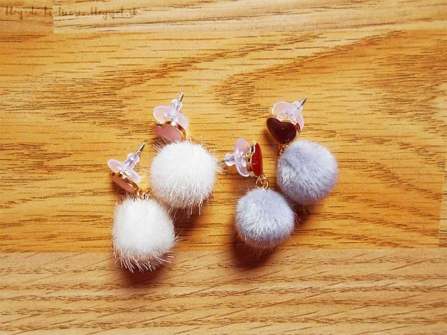 Super-duper adorable pairs of earrings. I ordered Heart Shape And Furry Ball Stud Drop Earrings in a white and grey col…
