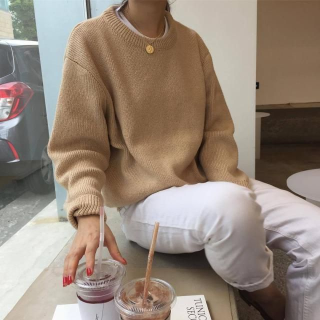 36% OFF  2019 V Neck Solid Color Sweater In CAMEL ONE SIZE(FIT SIZE ... 07254b5e4
