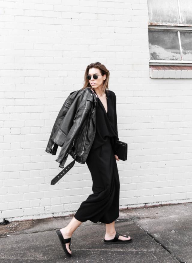 Would you wear a black dress with a biker jacket?