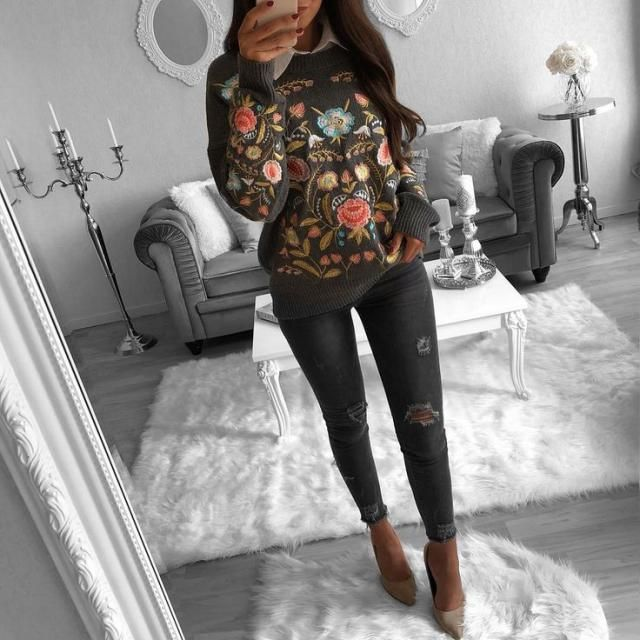 For a chic comfy look try this floral sweater and ripped jeans