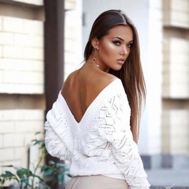 White Sweater With Open Back