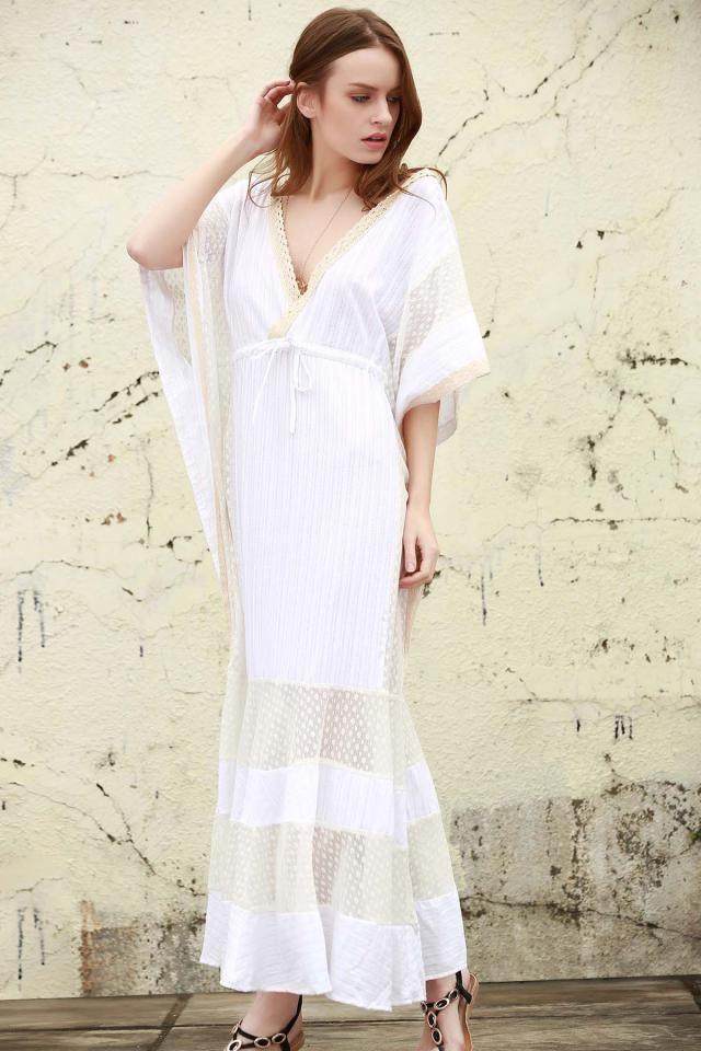 زافول تقدم فستان أبيض نقي جميل لكم اليوم. يمثّل الأبيض مفهوم النقاء والبراءة  مناسبات: غير رسمي  مواد: قطن  طول فس…