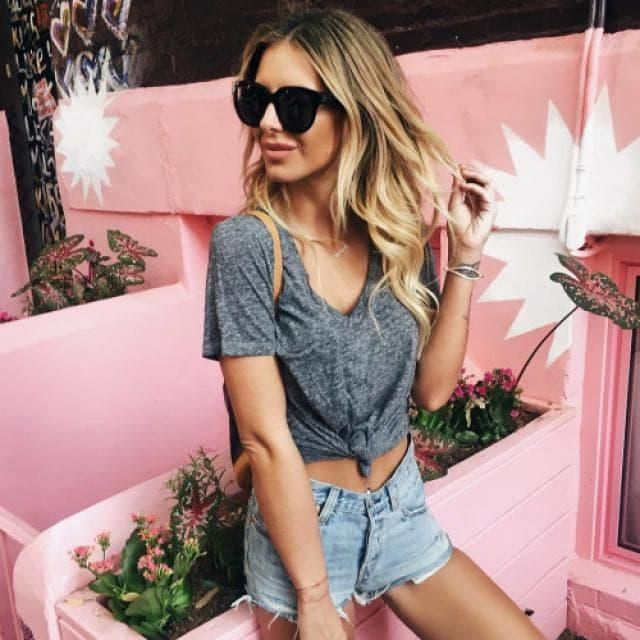 Black sunglasses + gray t-shirt + denim shorts = PERFECT OUTFIT FOR SPRING!! Welcome to the spring with this beautiful …