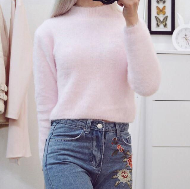 2018 Floral Embroidered Relaxed Fit Jeans In BLUE S