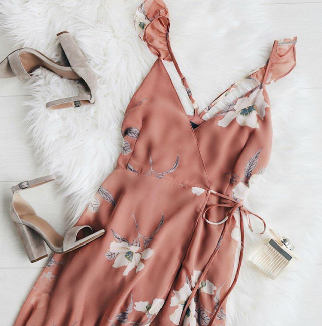 Nice floral dress with cool sandals