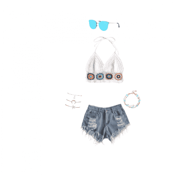This is a really cute outfit for coachella or any music festival. I didn't find any shoes that really spoke to me with …