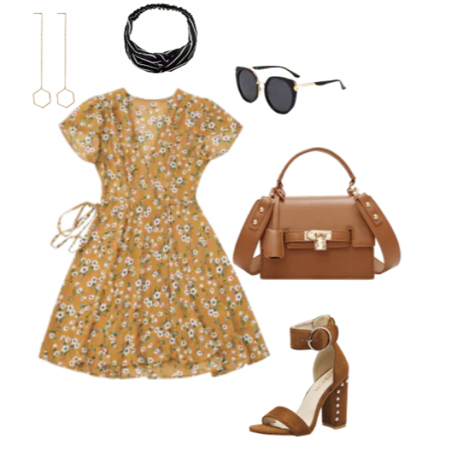 a flowy floral yellow dress with leather brown accessories.