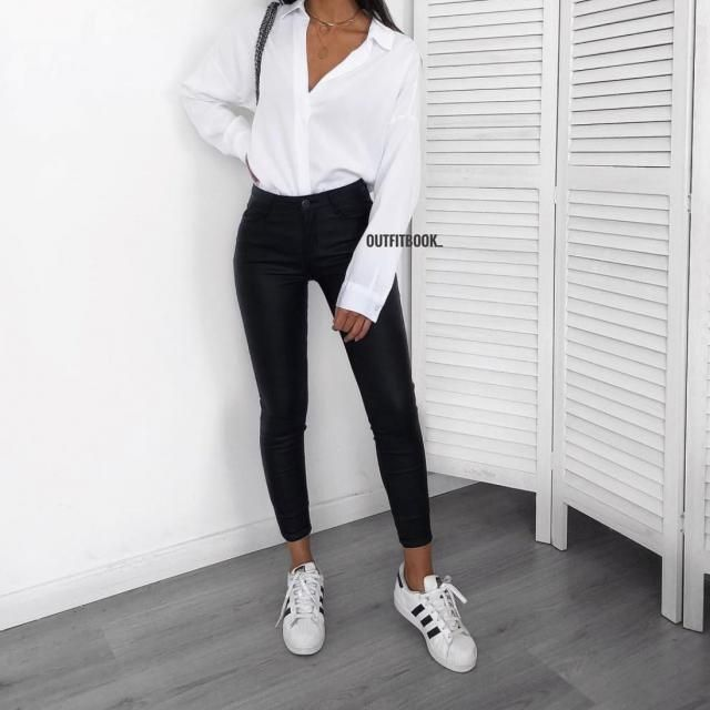 casual  and chic black and white look