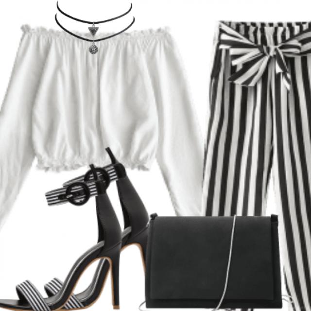 Bowknot Stripes Straight Pants - Stripe S