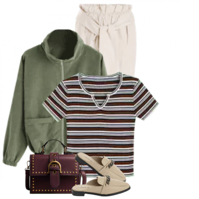 Trendy striped shirt looks beautiful with the pants and the green jacket
