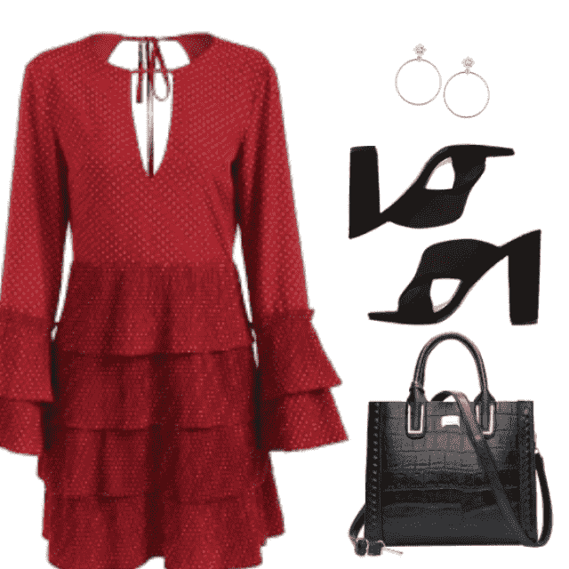 Red dress with ruffle, midi. This season ruffles are in.