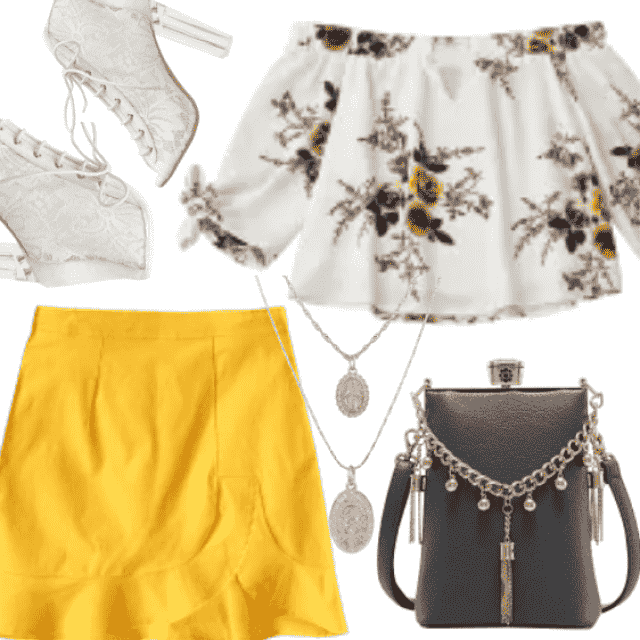 Yellow short skirt I combine with crop top with flower  print. This look is great for spring/summer time.