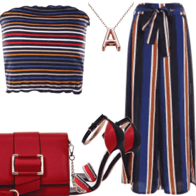 Striped Wide Leg Palazzo Pants - Stripe M