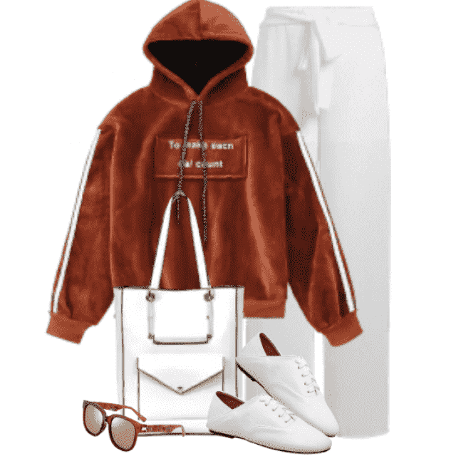 Fancy womans hoodie in great addition to the pants, white shoes and bag