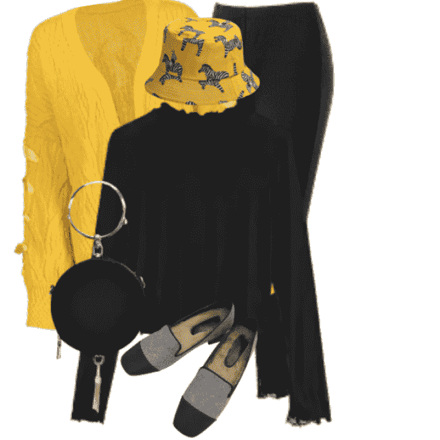Unique combo in yellow and black with a cool hat