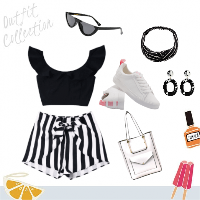 Black and white stripe spring and summer outfit.