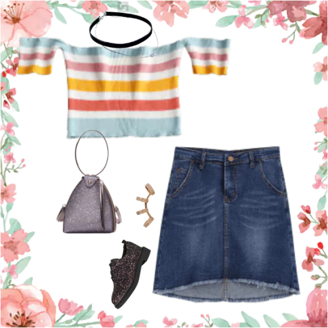 denim skirt and color t-shirt
