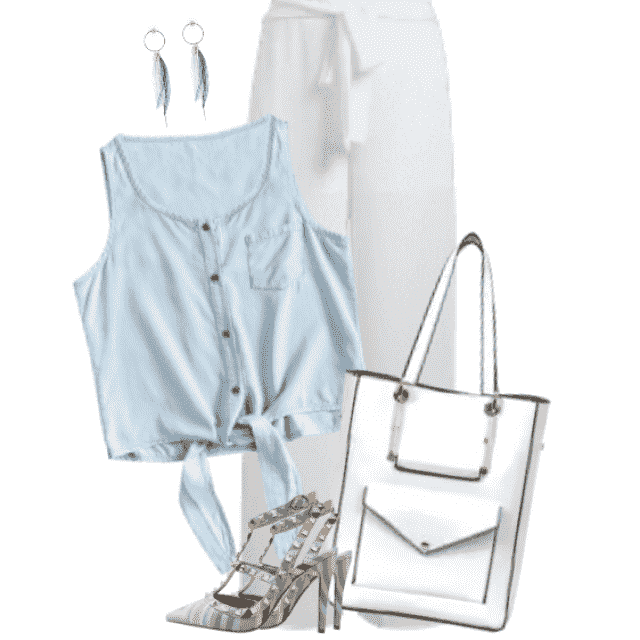 Beautiful combo with a blue blouse and white pants