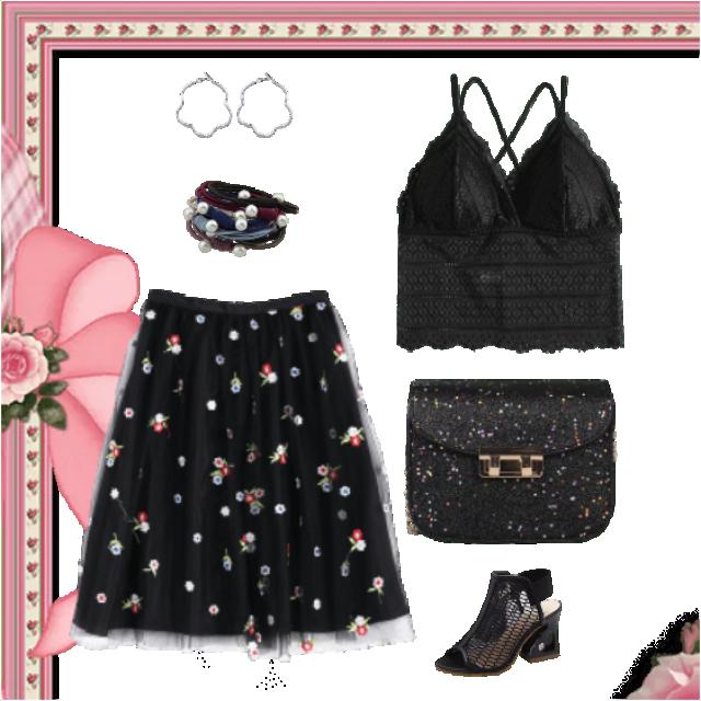 Sexy chiffon skirt and lace top