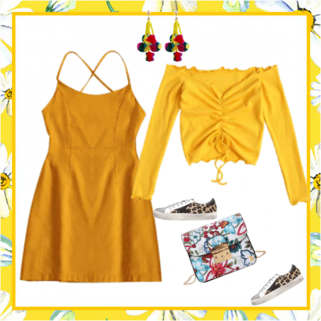 Yellow dress and blouse - athletic style