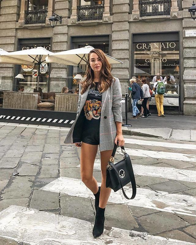 For a street style try to mix a t shirt with plaid blazer and faux leather shorts this look a really unique feel