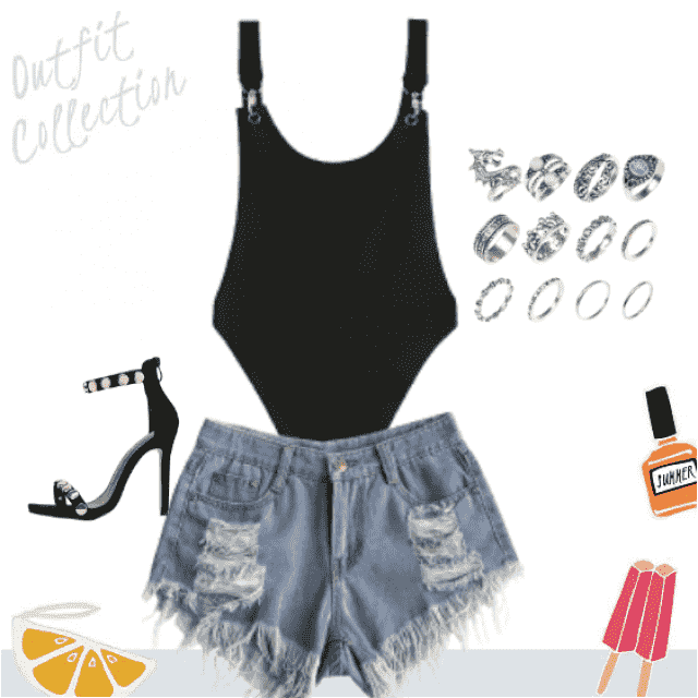 Zaful thong teddy with cut-off denim shorts and strappy heels