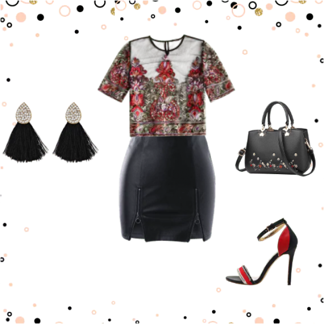 cute floral print black outfit