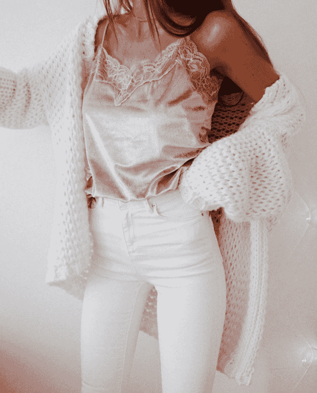 Cool pink top with white pants