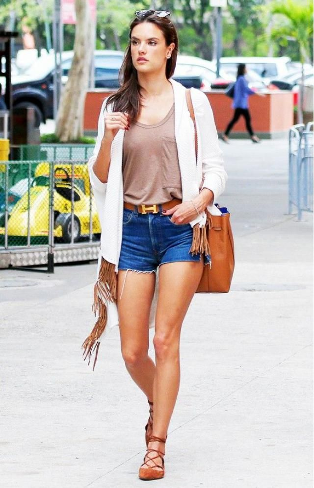 Denim Shorts Brown Top