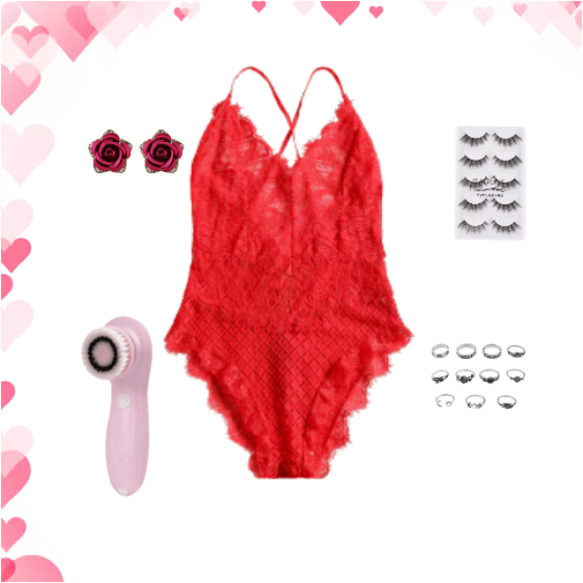 I adore this pretty red lacy teddy which is perfect for the romantic evening in or Valentines evening . Enjoy it Evynne…