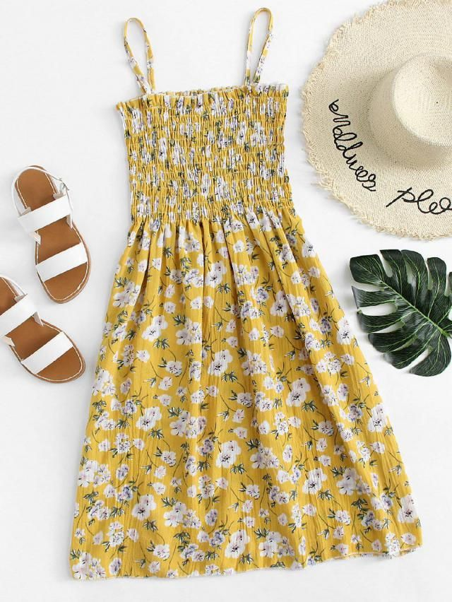 Nice yellow dress with floral print