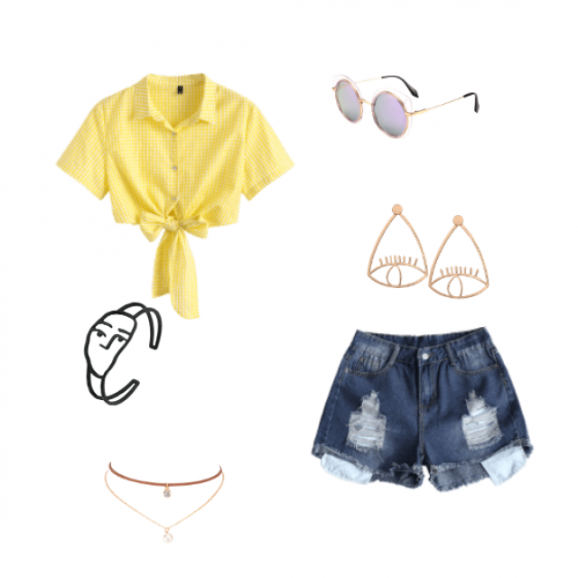 Yellow statement shirt with lots of accessories and high waisted jean shorts.