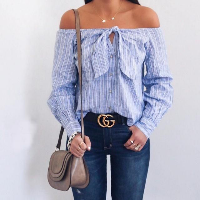 Keep it chic and cute with this off shoulder blouse it look so unique