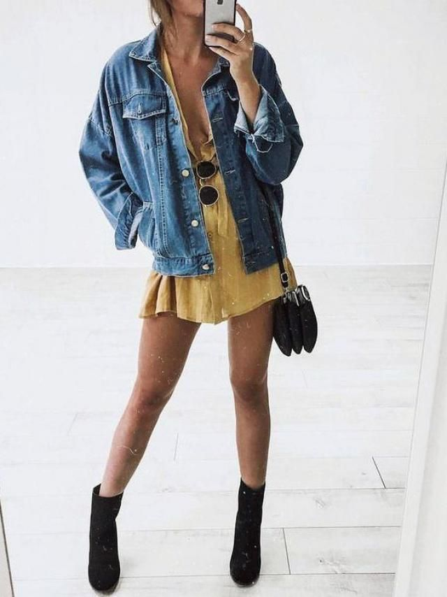 For a fun comfy outfit try this beautiful dress with this gorgeous denim jacket