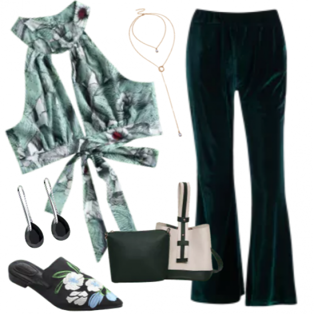Trendy velvet green pants perfect for all kinds of outfits, so fashion , so glam but in the same time so casual !     …