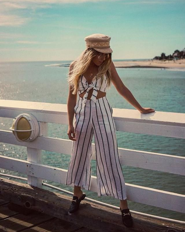 Striped Crop Top And Culottes Matching Set