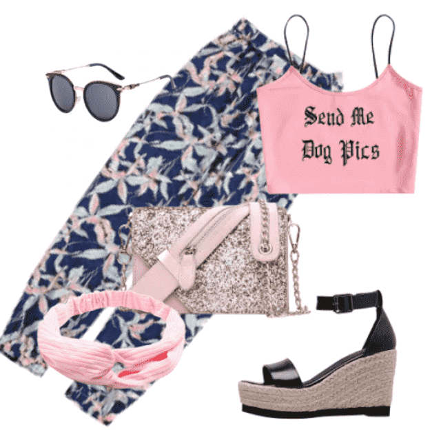 Floral pants and sandals for leisure