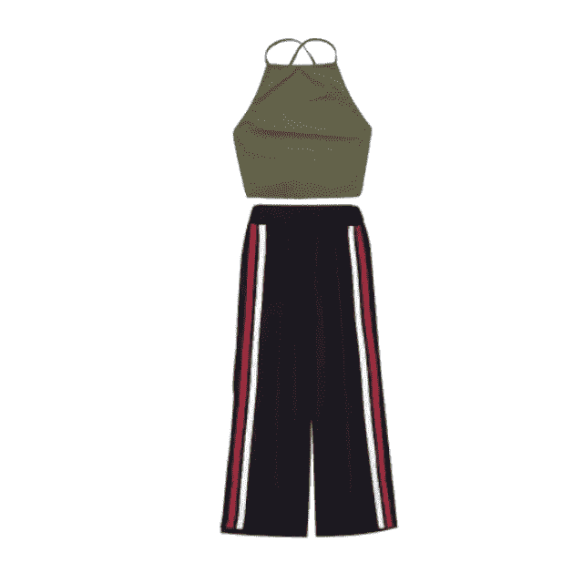 An olive green haltered top with a pair of loose black bottoms with red and white straps on the outer side