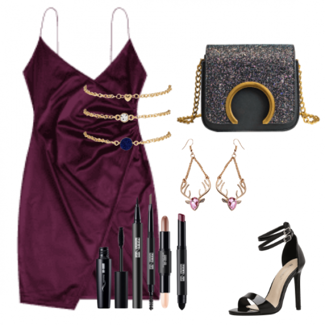 Elegant violet maxi dress for going out