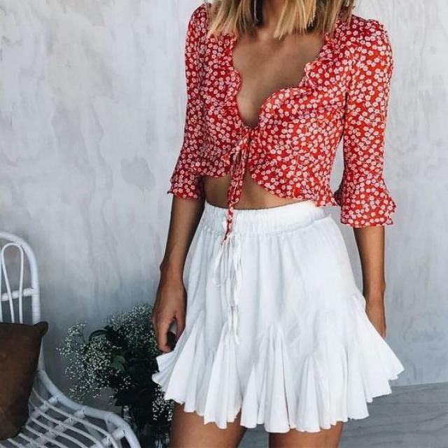 Floral Print Ruffles Flare Sleeve Blouse