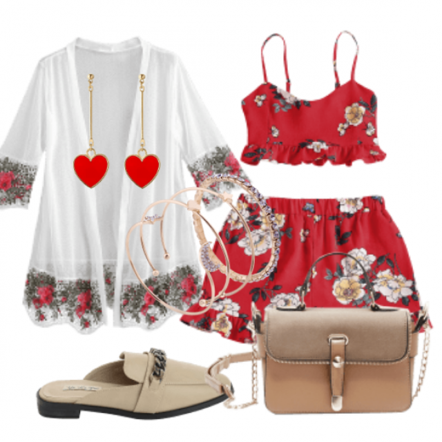 Red two piece set look for summer