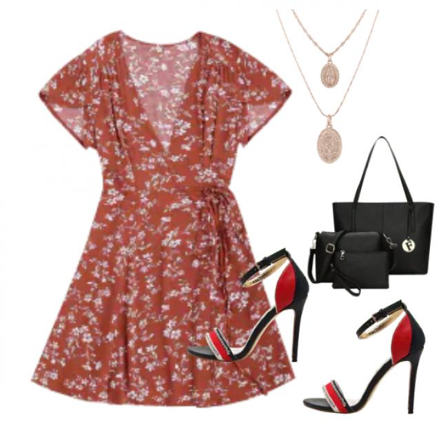 Romantic dress with trendy sandals