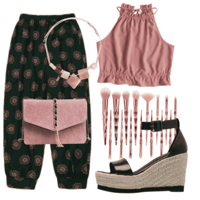 Trendy print pant with pink top