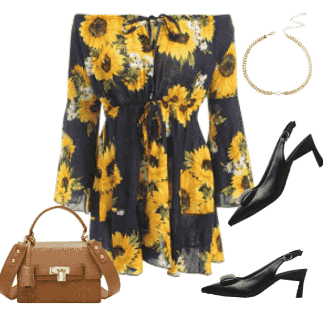 Attractive dress with trendy sandals