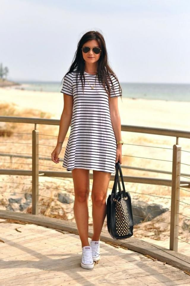 Striped Half Button Mini Dress