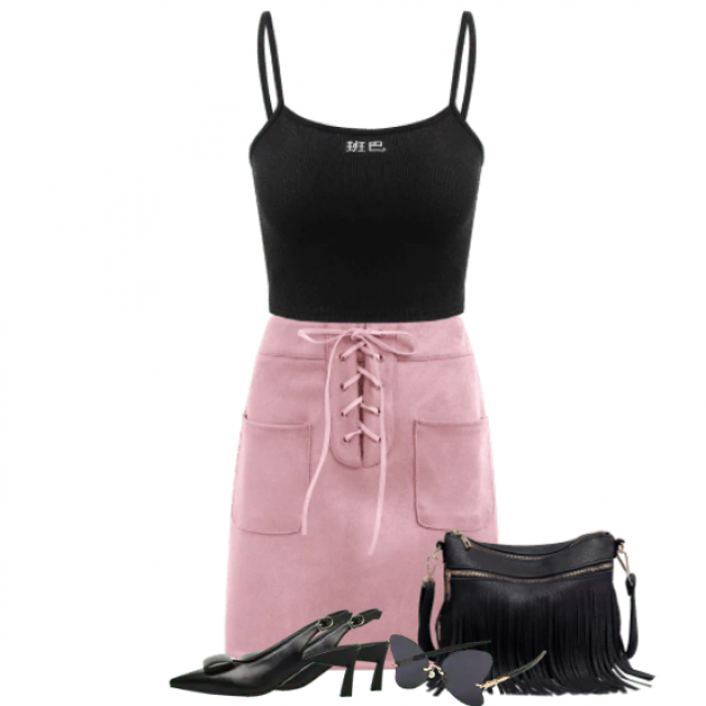 Gorgeous combo with a pink beautiful skirt and black top
