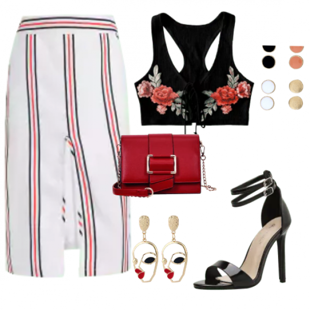 Gorgeous combo with a striped skirt and black top