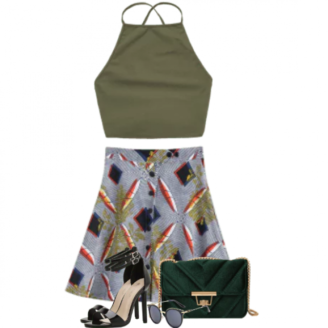 Beautiful combo with a green top and a printed skirt