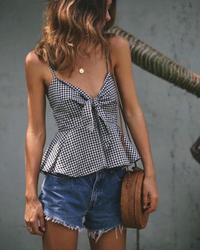 Front tie top and denim shorts